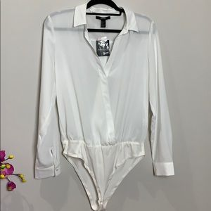 NWT FOREVER 21 off white   body suit blouse
